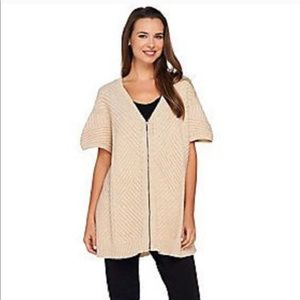 H by Halston Oversized ZIP Front Poncho Sweater